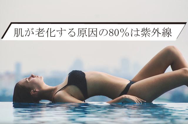肌が老化する原因の80%は紫外線